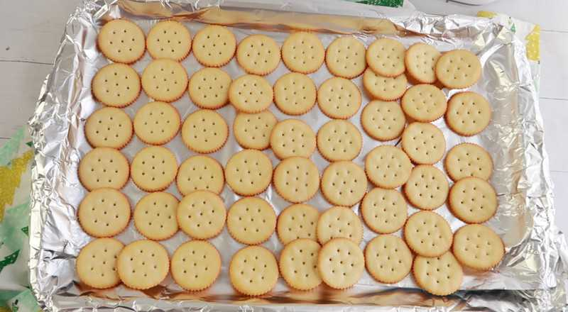 crackers on a sheet pan