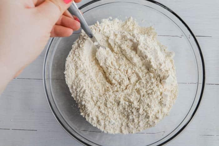 flour in a clear bowl