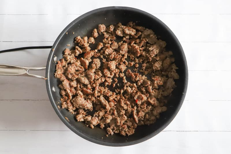 ground sausage in a skillet