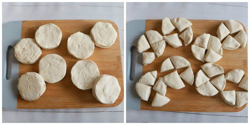 biscuits on a cutting board sliced for topping