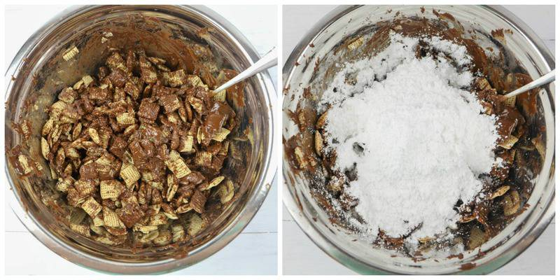 chocolate covered cereal in a mixing bowl