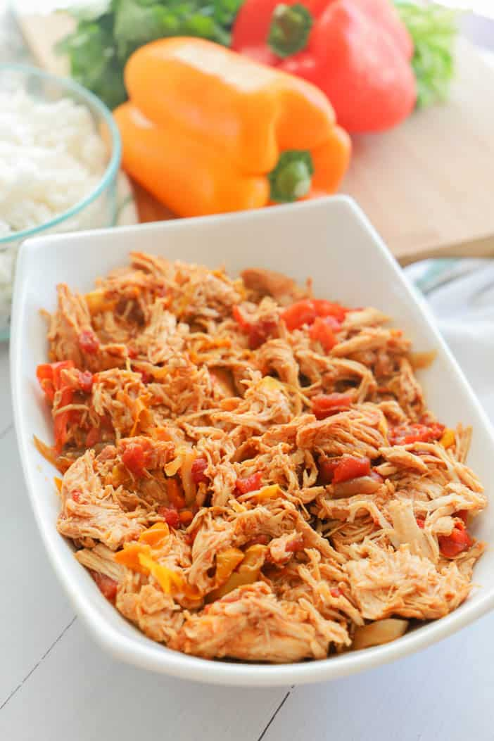 Slow Cooker Chicken Fajitas in a white bowl