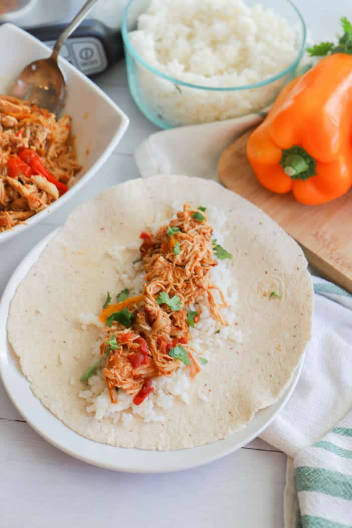 Chicken Fajitas on a soft tortilla with rice on white plate