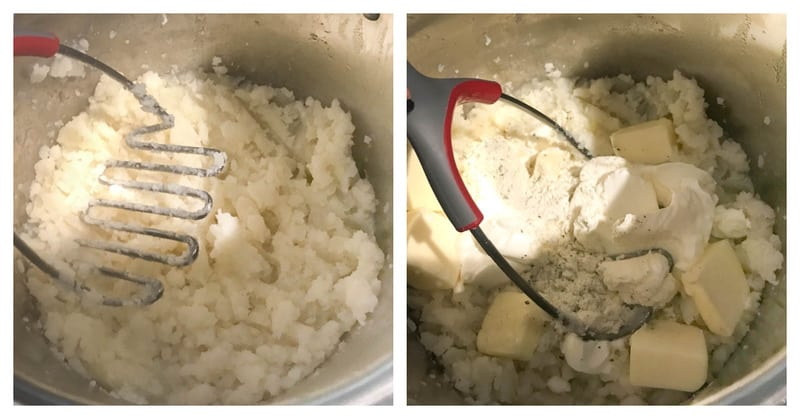 potatoes being mashed in a pot