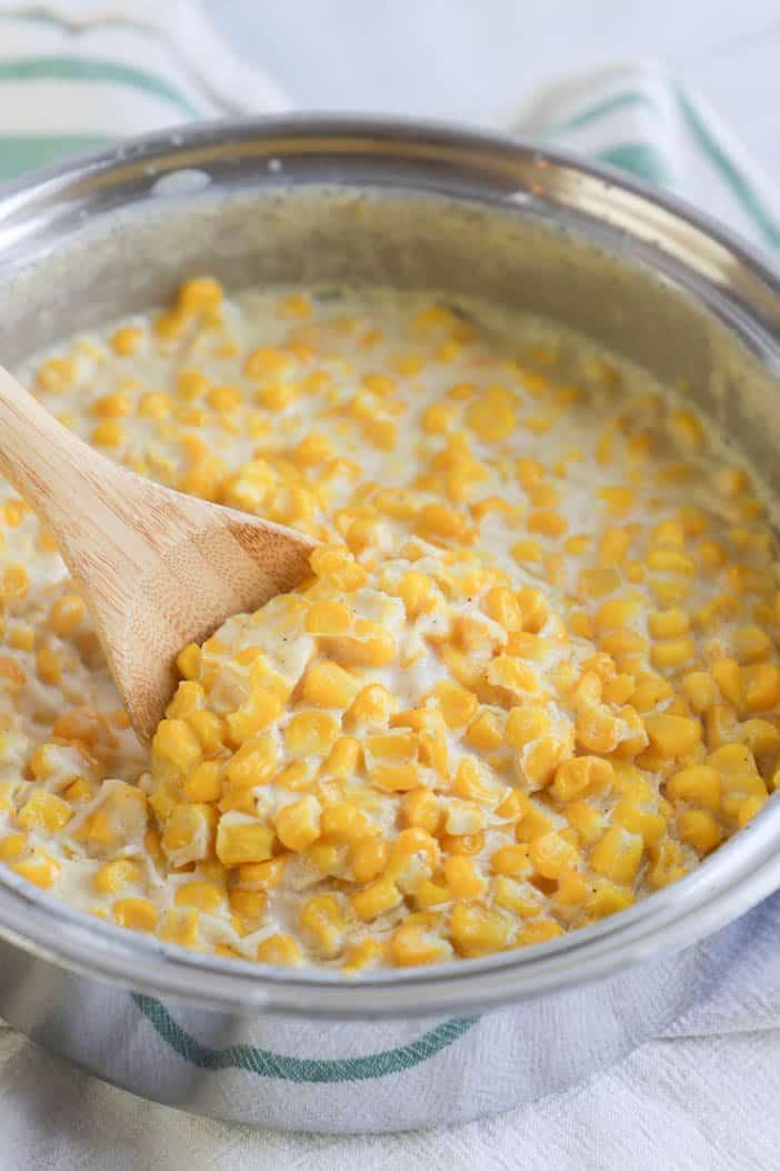 Cream Corn in a silver skillet