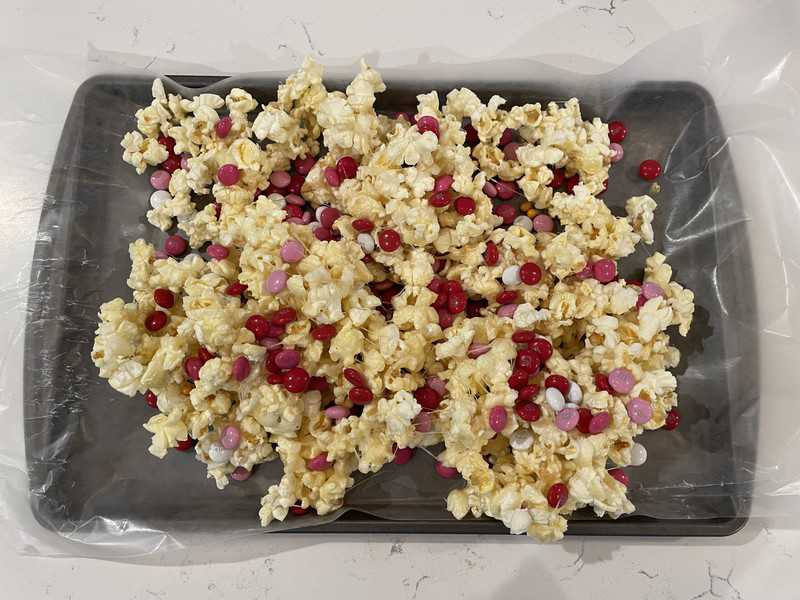 popcorn on a baking sheet