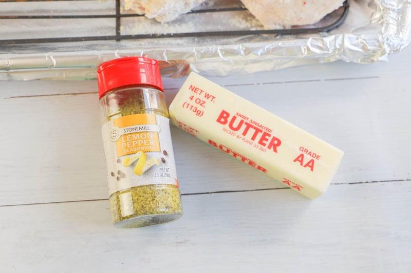 Butter and Lemon Pepper Seasoning on table