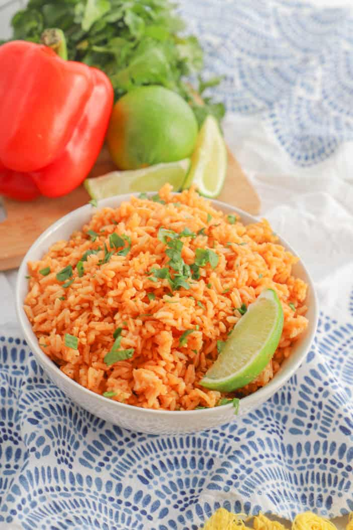 Mexican Rice in a bowl with lime