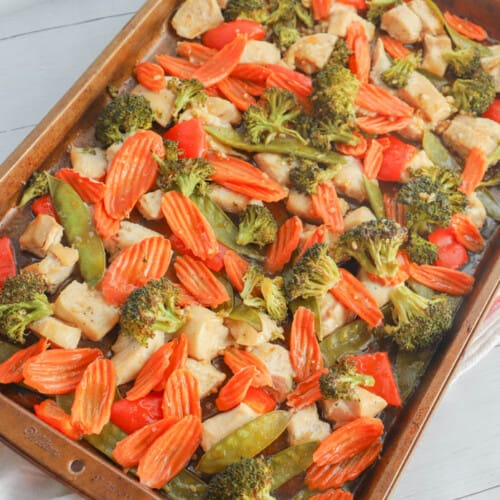 Sheet Pan Teriyaki Chicken and Vegetables on the pan