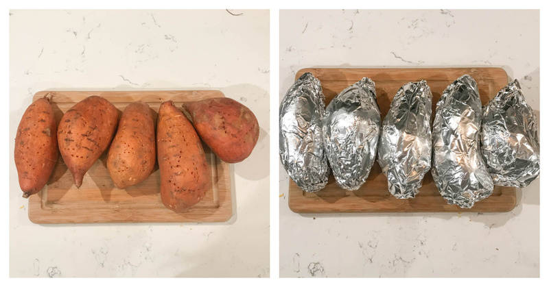 potatoes being wrapped in foil