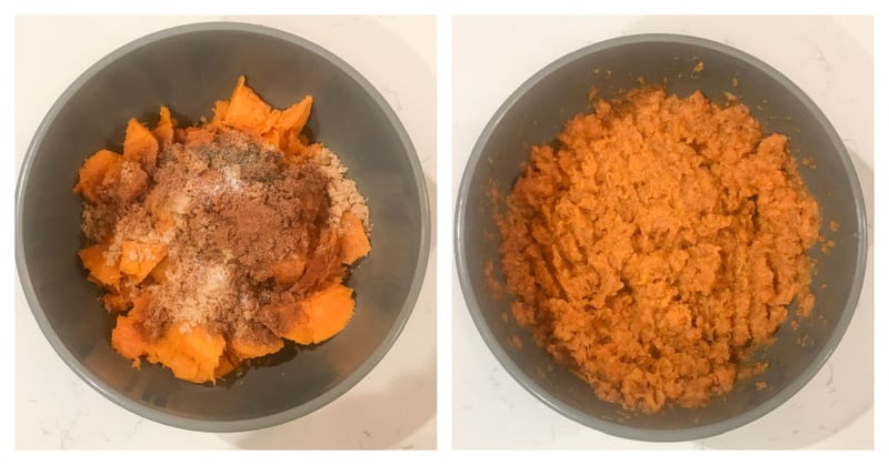 mixing ingredients for twice baked sweet potatoes in a bowl