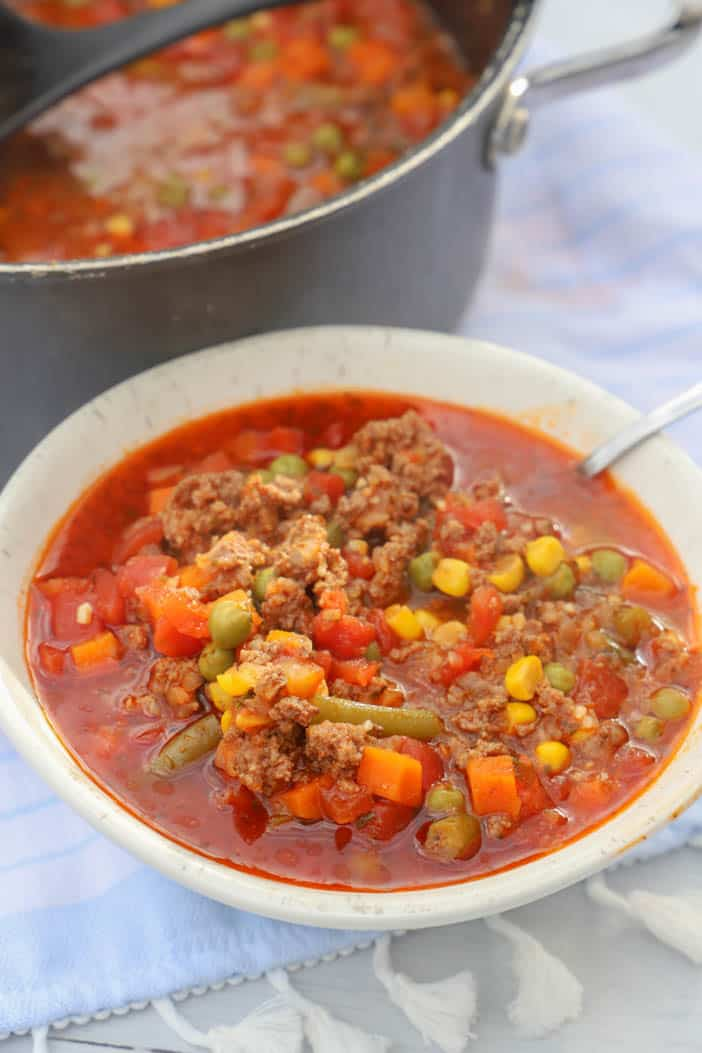Vegetable Beef Soup in a white bowl