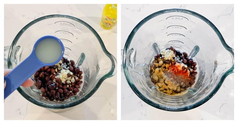 adding ingredients to the blender for black bean hummus