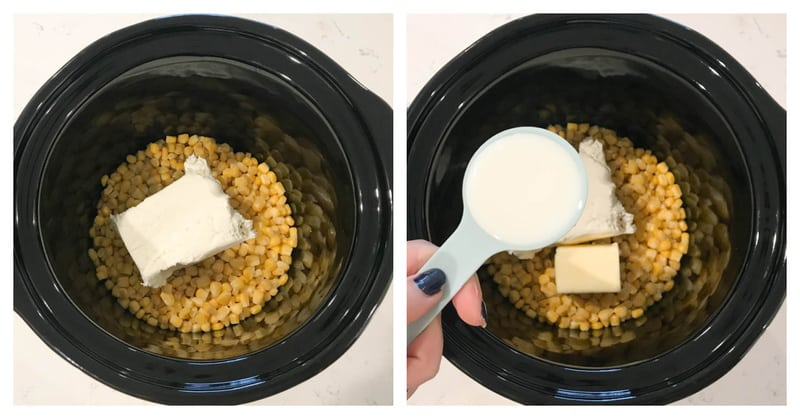 adding ingredients to the slow cooker