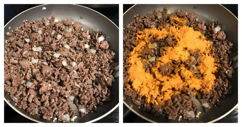 preparing and cooking the taco meat