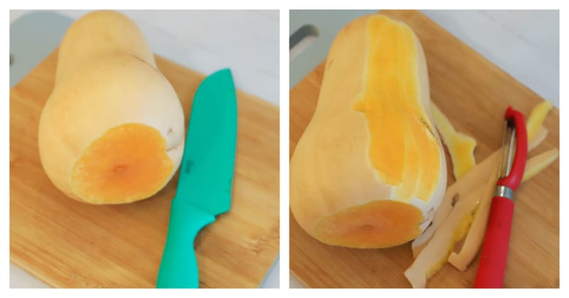 Preparing and slicing your butternut squash