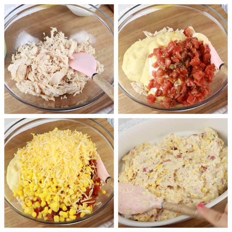 mixing all ingredients for Doritos Chicken Casserole