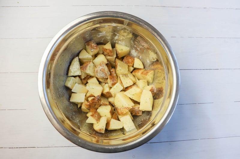 potatoes tossed in seasoning