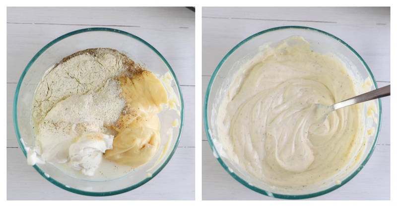 mixing ingredients in a clear bowl