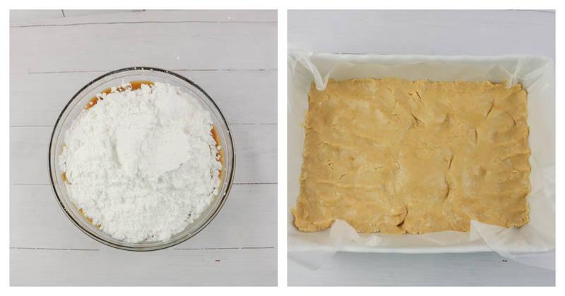 adding sugar and placing fudge into the pan