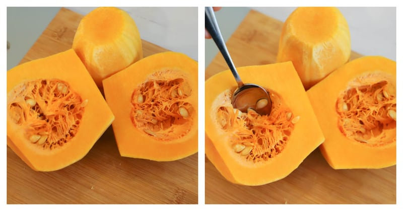 Butternut Squash cut in half to show seeds being scooped out