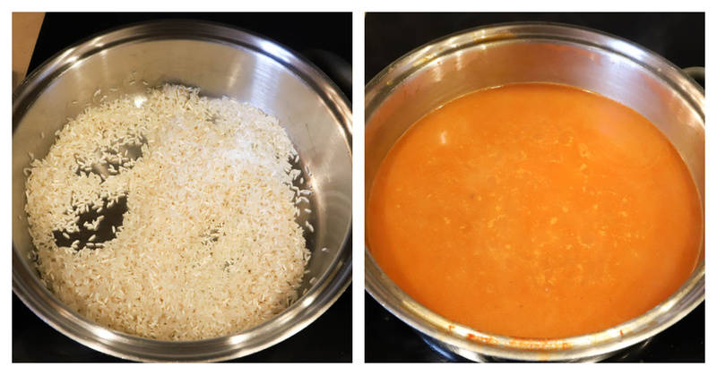 rice and sauce in a pan