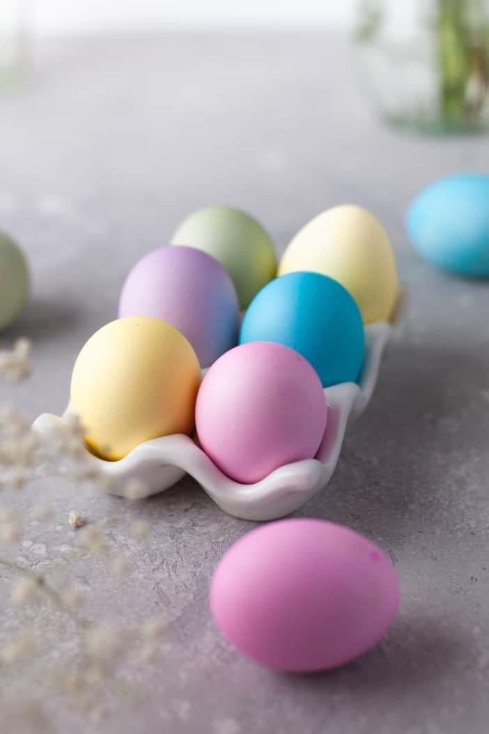 Dyed eggs in a egg carton