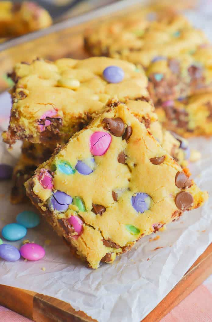 easter cookie bars on a wooden cutting board