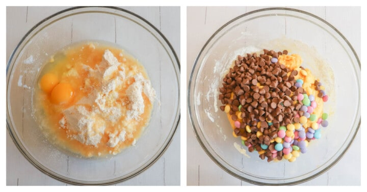 mixing eggs with cake mix then adding in chocolate