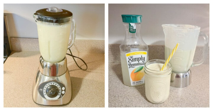 Frosted Lemonade in a blender and then poured into a mason jar with the lemonade in the background