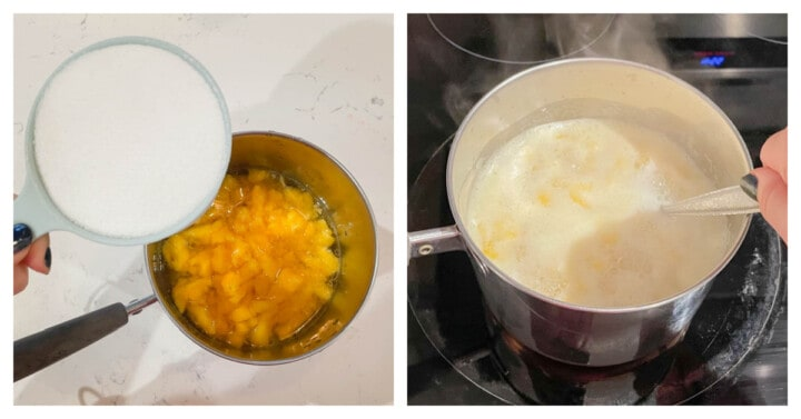 Making the Peach Syrup for the tea
