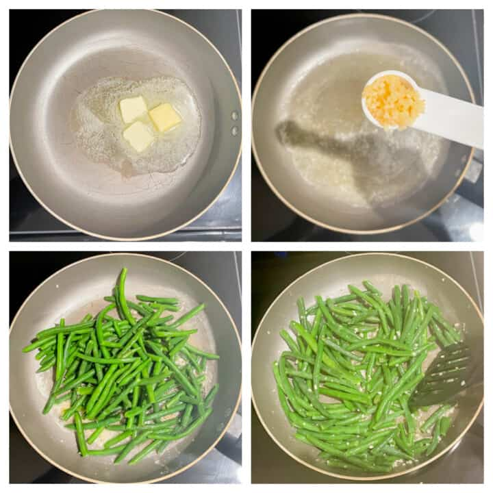 Skillet Green Beans process picture collage