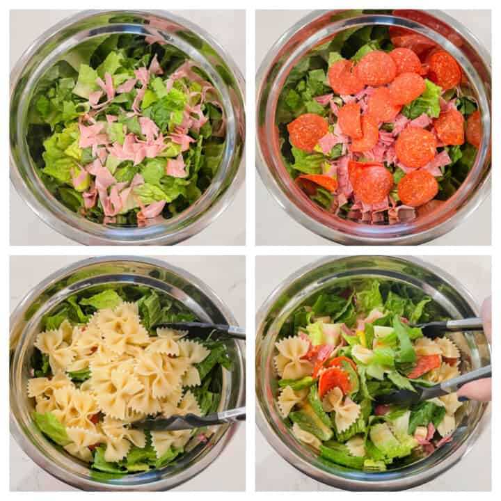 4 step collage of making the Italian Pasta salad