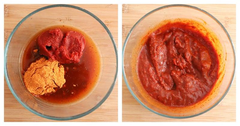 mixing tomato paste
