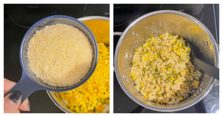 mixing ingredients in a bowl for butter parmesan noodles
