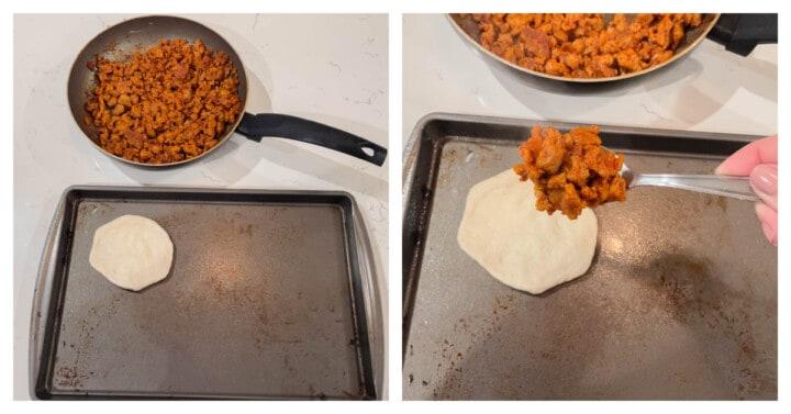 adding ground turkey mix to the biscuit to make baked sloppy joe