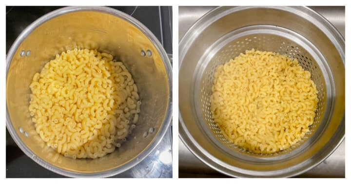 noodles cooked in pot and drained