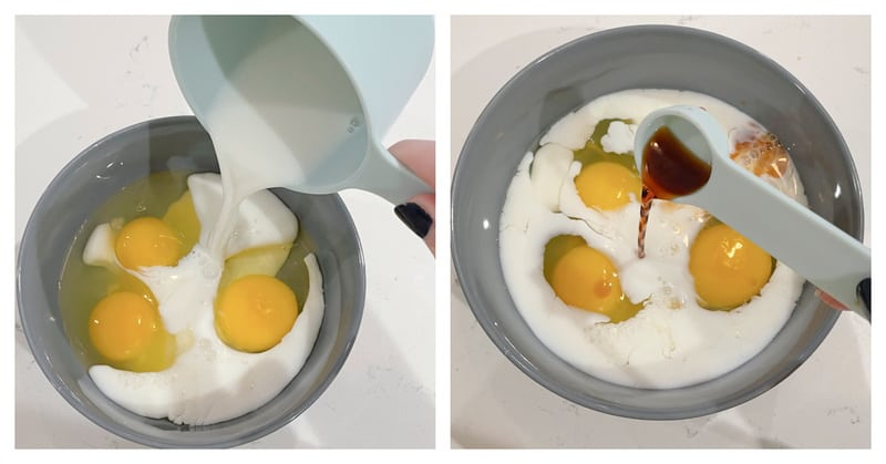 Eggs, milk and vanilla being mixed together in shallow bowl