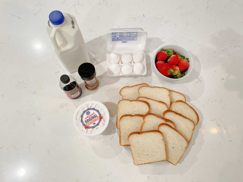 all ingredients for French Toast rollups
