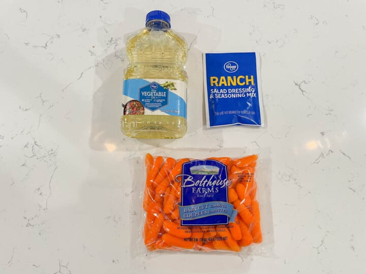 Ingredients for roasted ranch carrots