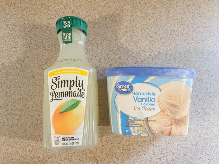 Ingredients for frosted lemonade, lemonade and vanilla ice cream
