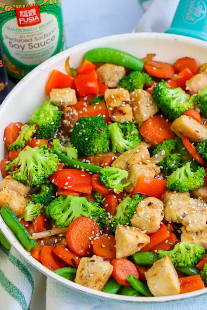 Chicken Stir Fry topped with sesame seeds