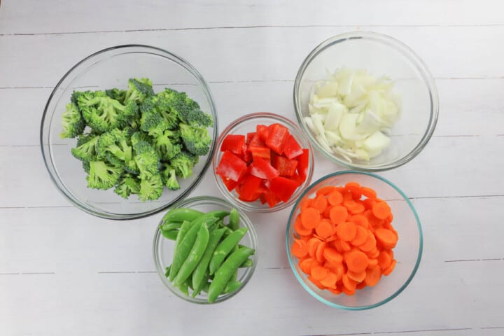 all veggies diced up