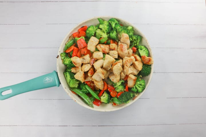 adding cooked chicken to your skillet