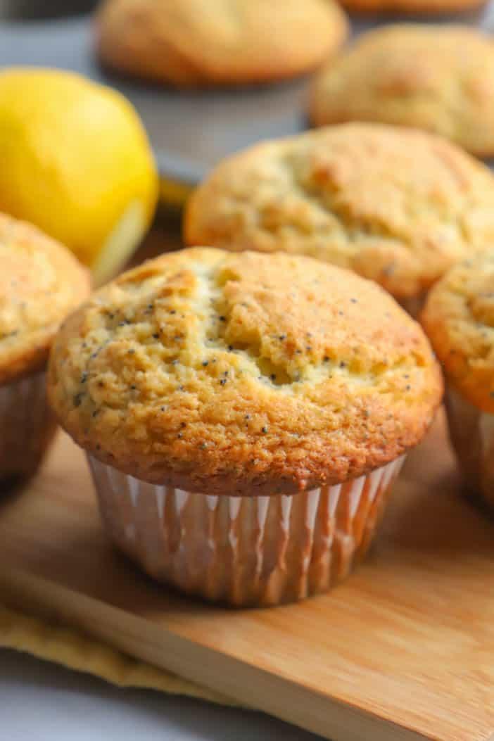 Lemon Poppy Seed Muffins in a cutting board