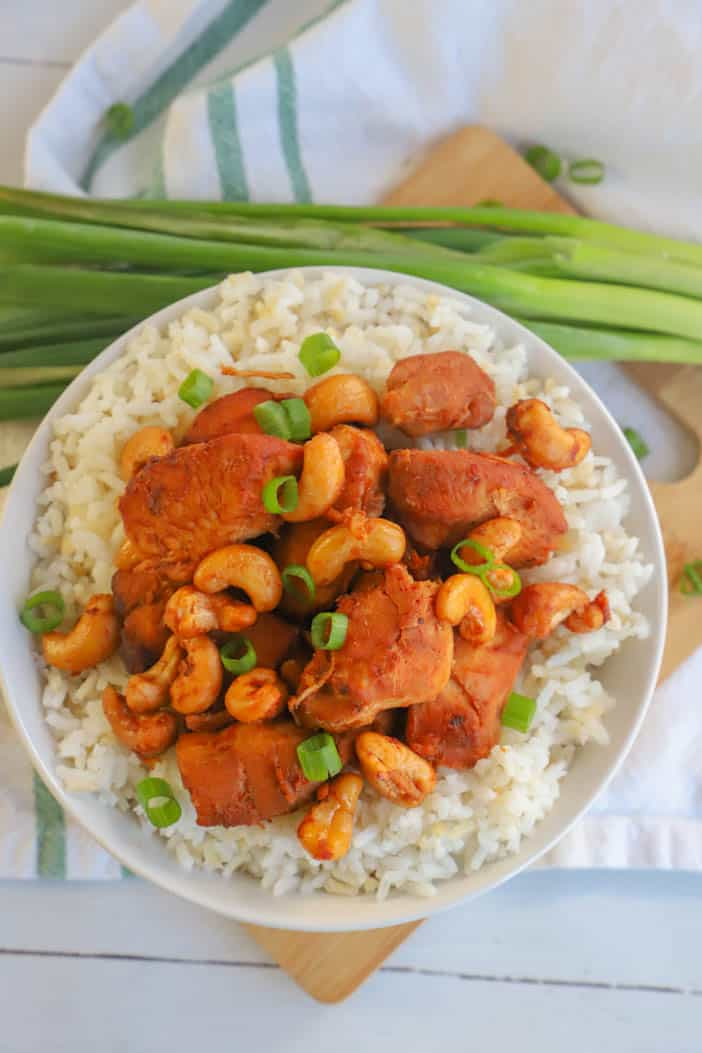 top view of Slow Cooker Cashew Chicken with green onions