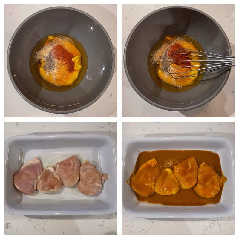 Honey Mustard sauce in bowl, chicken in white baking dish