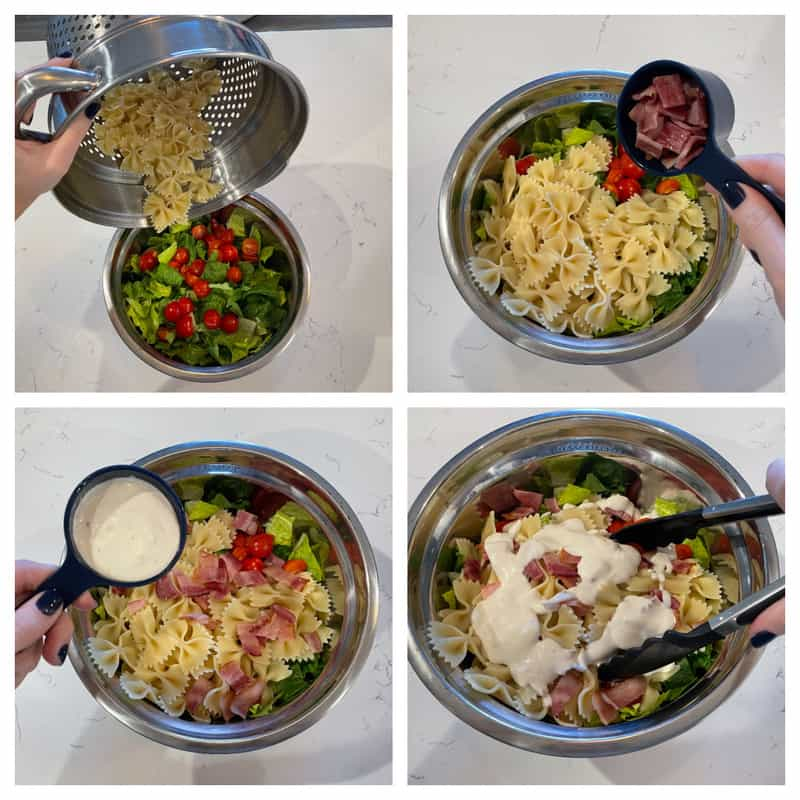 adding ingredients to a mixing bowl