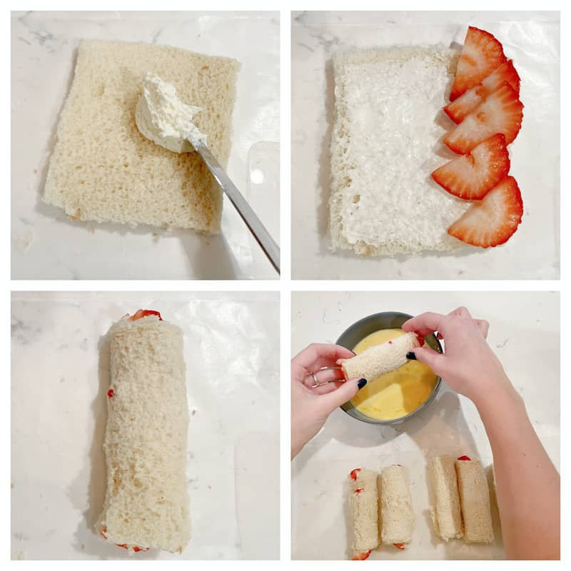 Making the French toast rollups on the bread