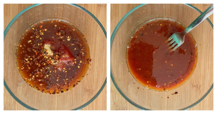 mixing sauce in a clear bowl
